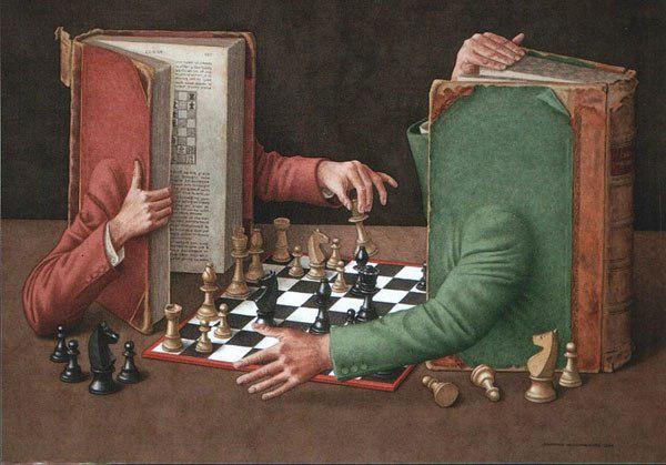 دو کتاب در حال بازی شطرنج