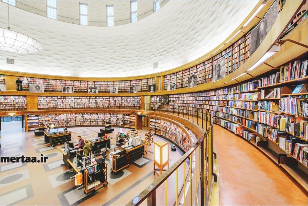 نمای داخلی کتابخانه در سوئد - آمار و سرانه مطالعه در کشور سوئد